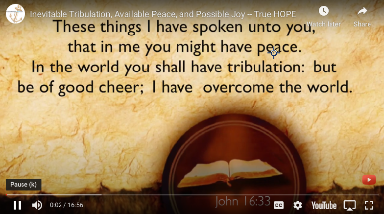 Do You Have Peace in Our Troubled World? (John 16:33)